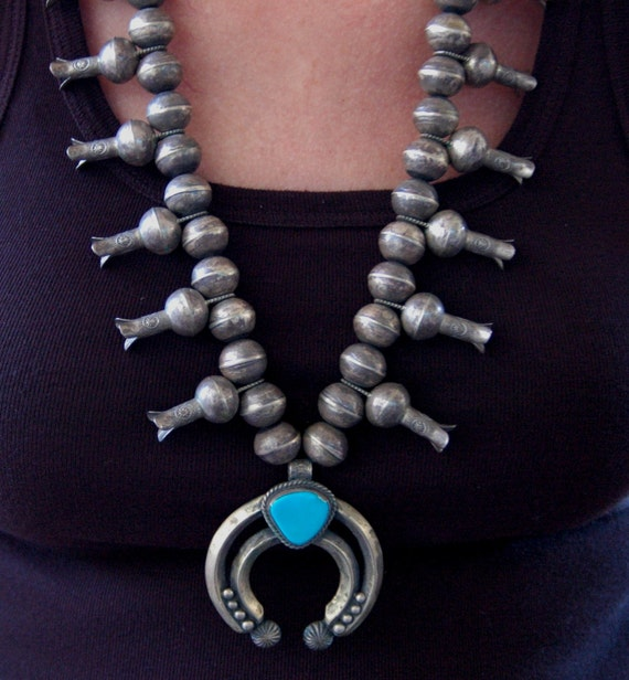 Big beautiful old sterling Navajo turquoise squash blossom necklace by Navajo artist  Eugene Hale 245 grams