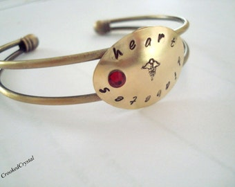 Medical ID Bracelet - Personalized Jewelry - Custom - Brass - Brass Cuff - Hand Stamped - Oval Tag - Swarovski Crystal