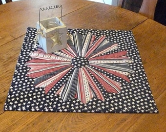 Dresden Plate Quilted Table Topper & Matching Coasters Star and Stripes