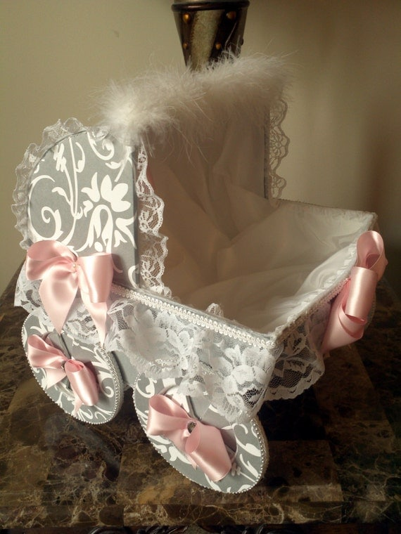 Items similar to 14 inch gray and pink baby carriage for Baby carriage decoration