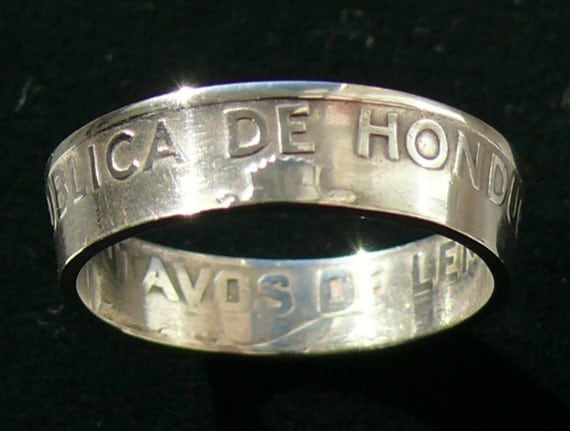 Silver Coin Ring 1932 Honduras 50 Centavos - Ring Size 8 3/4 and Double Sided