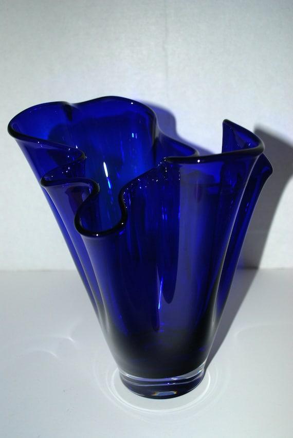 sale cobalt blue glass vase free form vase