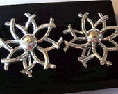 "Vintage CORO Earrings Snowflake Design Clip On Style Silver Metal Color Signed 1.5"" Holidays"