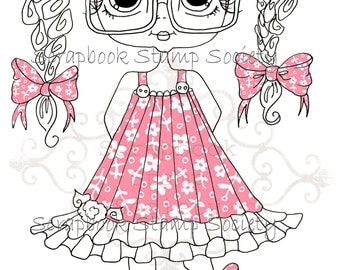 INSTANT DOWNLOAD Digital Digi Stamps Big Eye Big Head Dolls Digi  My Besties Clever Chole Pink  Partly Pre Colored Digi  By Sherri Baldy