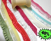 """Ruffle elastic trim 16 Yard Set, 8 different colors, 2 Yards each,  width appox 12mm  about 1/2"""" inches wide No. B7"""