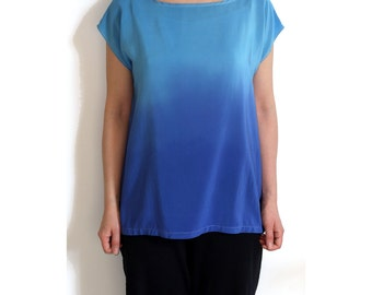 Ombre Silk Shirt.  Blue on Blue / ready made