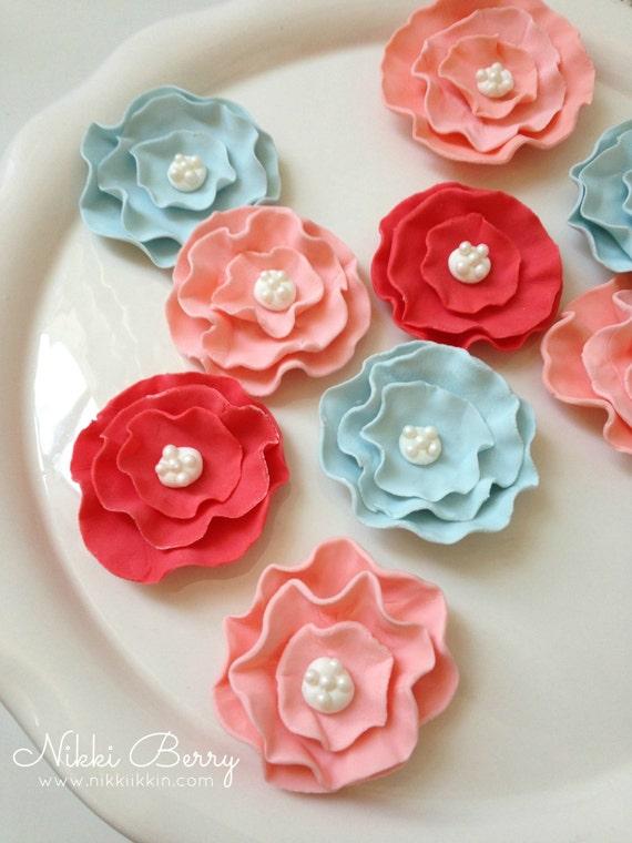 Fondant Flower Brooch Cupcake Toppers