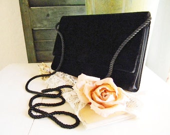 Vintage Velvet Black Evening Purse Clutch Formal 1980's Envelope Flap NORDSTROM'S Convertible Strap Elegant Glamour Special Occasion