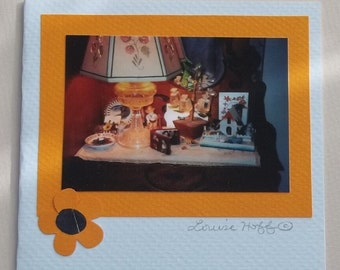 desk with cora's collectibles