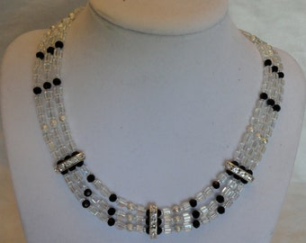 Silver, Black, and White Crystal Necklace