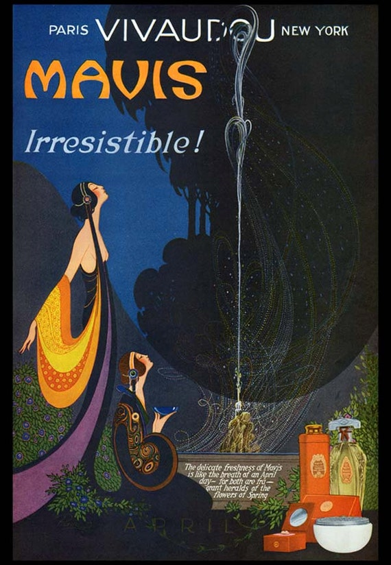 1920's vintage ART Nouveau April WOMAN Perfume Goddess Candle WICCAN Spell Beauty French Advertising Poster Art Print