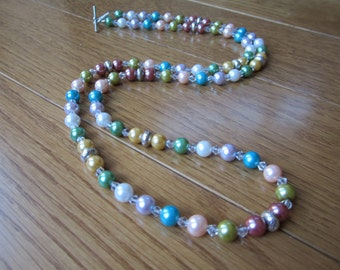 Long Pearl Like Muliticolored Necklace