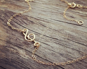 Treble Clef Necklace  - Sideways Treble Clef Necklace - All 14K Gold filled - Handmade By CoCo - Everyday Jewelry/ Wire Jewelry