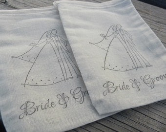 Set of 20 Hand stamped  Bride And Groom Wedding Bag Muslin Party Favor Bags 100% organic made in america
