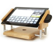 intra-stand landscape iPad stand for use with ShopKeep and iDynamo Card Swiper in Walnut  Hardwood and Machined Solid Aluminum