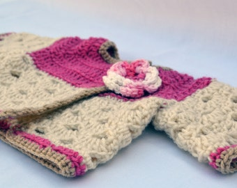 Crochet victorian baby sweater, infant sweater, newborn clothing