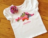 Girl Dinosaur shirt with embroidered name and matching hair bow