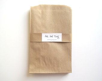 25 brown paper bags, kraft paper bag covers, favor bags, kraft merchandise bags, MEDIUM size 5 x 7.5