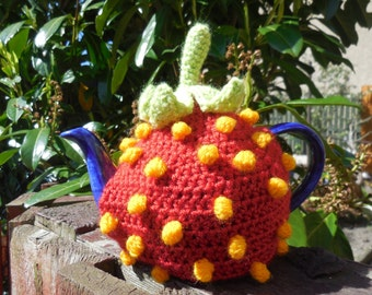 wooly likes to hook Crochet Strawberry Teapot cozy pattern
