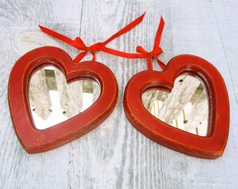 Little Red SHABBY CHIC Heart Hanging Mirror