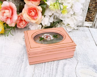 PINK Painted SHABBY CHIC Jewelry Box / Case