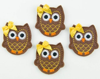 OWL - Embroidered Felt Embellishments / Appliques - Brown & Gold  (Qnty of 4) SCF6720