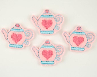 TEAPOT with Heart  - Embroidered Felt Embellishments / Appliques - Pink & Turquoise (Qnty of 4) SCF0220