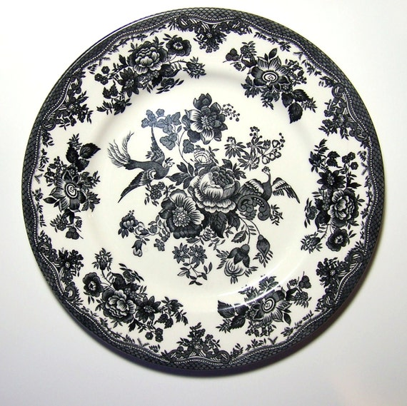 Black Amp White Dinner Plate Royal Stafford Phoenixes And