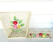 Vintage Waste Basket and Desk/Vanity Organizer