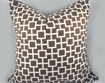 Robert Allen - Decorative Pillow Cushion Cover - Accent Pillow - Throw Pillow - Latticescape Java, Chocolate, Brown - 20 x 20 Inch