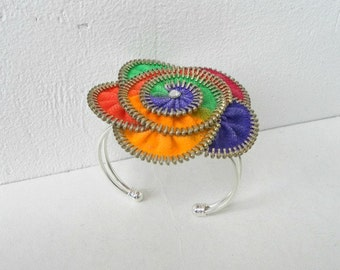 Colorful Bracelet, zipper bracelet, designer jewelry, hand painted, silver plated, unique gifts, recycled jewelry