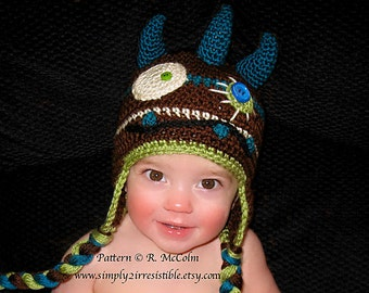 Monster Hat - Crochet Pattern 3 - Beanie and Earflap Pattern - us or uk Terms - Newborn to Adult Sizes Included - INSTANT DOWNLOAD