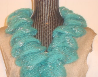 Women's Scarf Knit  RuffledWarm.Lace.Green jade.Sparkle.Siver  Thread.Sequin.Fall/Winter.
