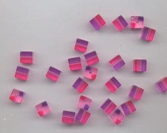 24 very cool vintage lucite beads - transparent  two-tone 8 mm cubes - purple and magenta pink