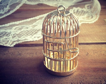 1 Pc Large SWINGING PERCH Birdcage Pendant Charm GOLD Charm Whimsical Bird Cage Vintage Style Pendant Charm Jewelry Supplies (BC049)