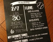 Custom Kids Birthday Favorites Chalkboard Poster Print