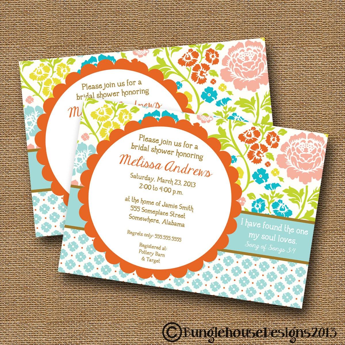 Bridal Shower Wedding Invitation DIY PRINTABLE Bright – Bible Verses for Wedding Invitation Cards
