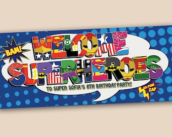 Personalized Superhero Birthday Banner - digital file
