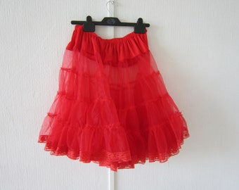 Red Lacy Sheer Flared Skirt