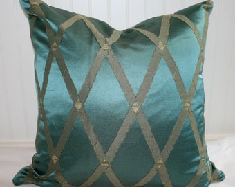 IN STOCK / Silk Diamond Pillow Cover / 22 X 22 / Teal and khaki silk with khaki upholstery back