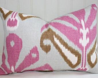 IN STOCK / Pink, Grey, Olive Green Ikat Lumbar Pillow Cover / 12 X 18 / Designer Sulu fabric