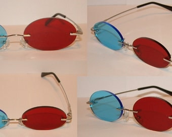 Standard Red and Blue 3D Oval cosplay costume glasses.