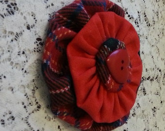 SALES - Red Tartan Fabric Flower - FREE UK delivery