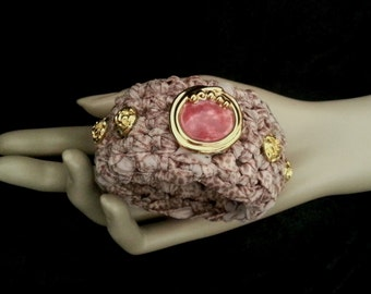 Crochet Fabric Cuff - Bangle - Bracelet - Dusky Pink - Chunky - FREE UK delivery