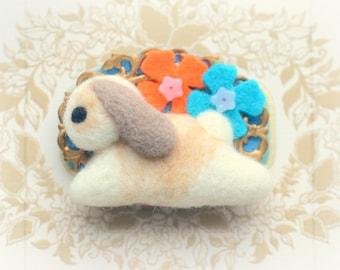 Rabbit felt brooch, soft sculpture bunny pin, animal brooch, orange blue felt flower, handmade rabbit accessories, gift under 20