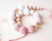 Nursing necklace / Teething necklace - White, Pale pink, Blush rose Pastel