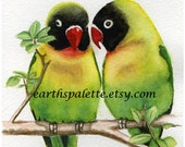 Lovebirds, 5x7 PRINT from original watercolor painting, birds, art & collectibles Earthspalette