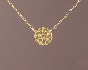 Gold Small Filagree Disc Necklace also in Silver