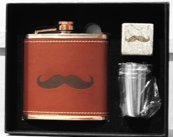 Groomsman Gift - 6 Whiskey Moustache Stone Flask and shot glass kits - Wedding Party Gift - Best Man Gift - Personalized Groomsmen Gift