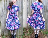 Vintage // Gypsy Rose Floral Maxi Dress // Puffy Sleeves 70's California Looks // Rare Pretty Grunge Bell sleeve